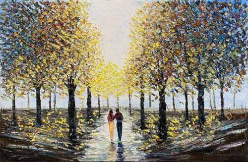 Walking in the park painting