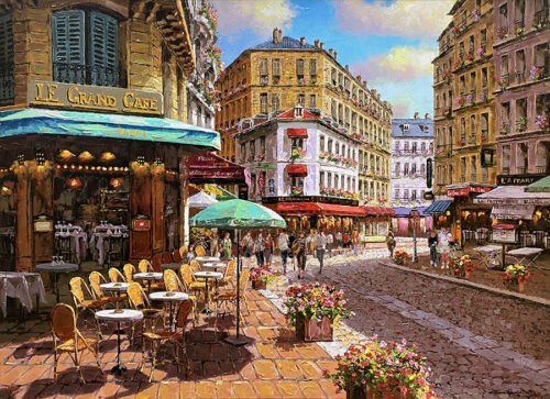 Outdoor Cafe Painting in Europe