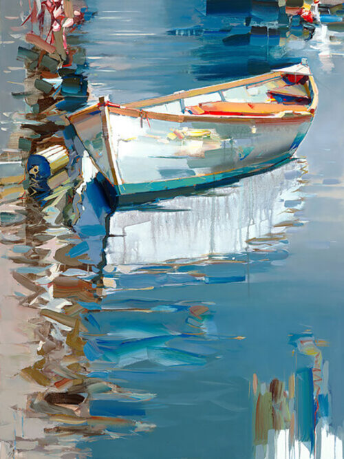 Looking For Summer by Josef Kote. Contemporary, abstract seascape boat artwork perfect for your summer home.