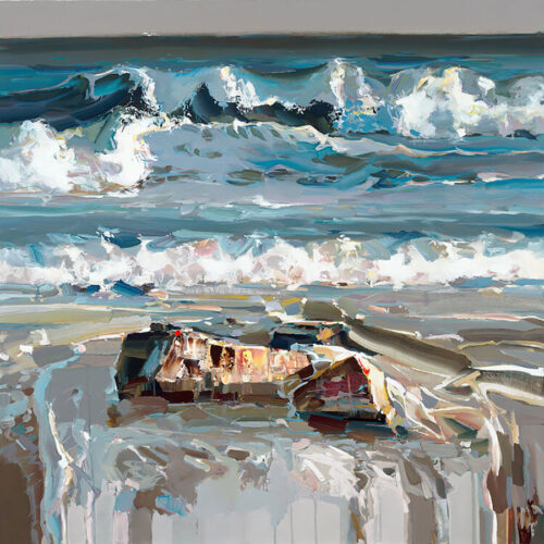 Mesmerizing Waves by Josef Kote. Water crashes onto the beach in this abstract and energetic artwork.