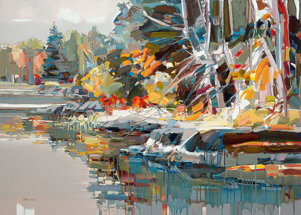 Paradise Found by Josef Kote. This abstract fall landscape of coastline and the forests edge make the perfect colorful canvas.