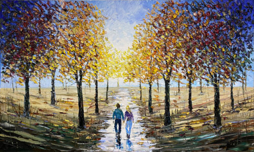 Oil Painting of figures in a park