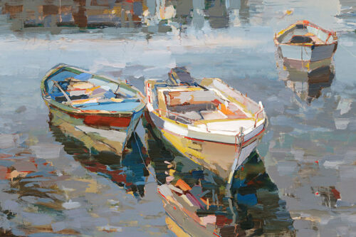 Return by Josef Kote. A wonderful composition of a boat scene coming back to harbor. The artwork shows Kote's signature colors.