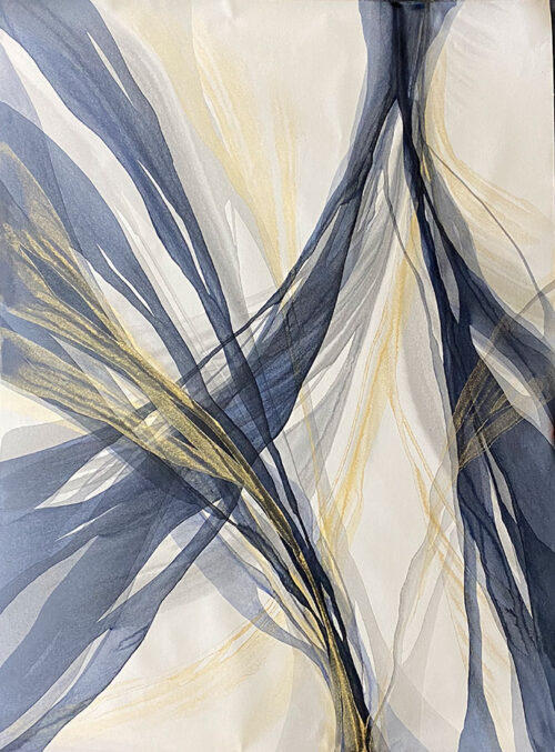 Abstract Blue, Gold, and Gray Painting