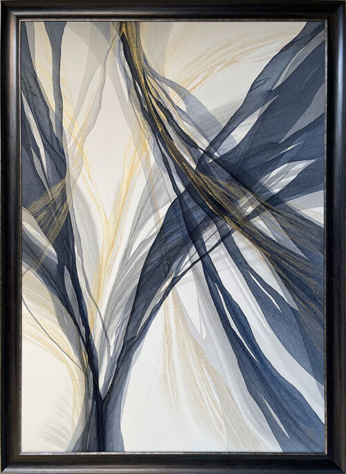 Abstract Painting with silver, grey, navy blue, and white