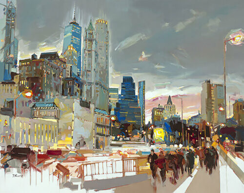 Skyline at Night by Josef Kote. In this city scene, city lights shine and New York's energy are felt in this abstract cityscape.