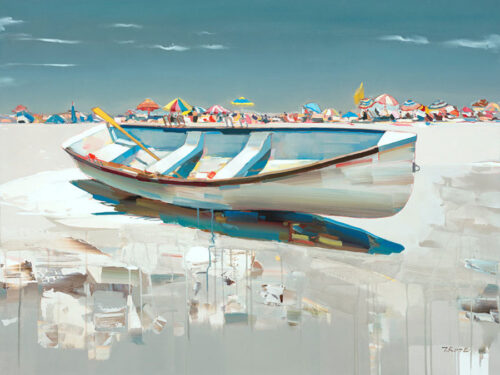Sunny Days by Josef Kote. Contemporary artwork beach painting of an empty boat with beach umbrellas lining the horizon.