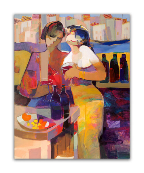 Sweet Aroma by Hessam Abrishami. Abstract Painting of figures. Artwork featuring vibrant colors & contemporary figure painting. Abstract painting that uplift spaces.