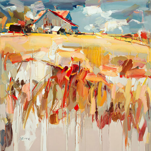 The Old Barn by Josef Kote. This abstract limited edition artwork of a farm landscape features glowing fall colors.