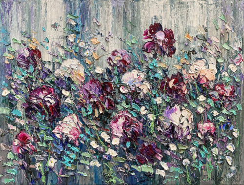 Oil Painting of violet flowers