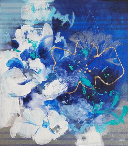 Abstract, Blue Floral Painting