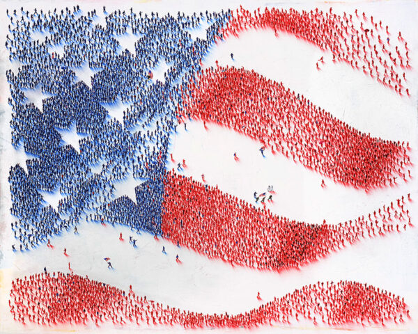 Nation of Nations by Craig Alan. Part of the Populus Series, paying homage to the great nation of the United States of America. This American flag image has special figures hidden throughout the crowds. Figures such as Captain America, American soldiers through the years, American Olympic athletes, and even Uncle Sam himself!