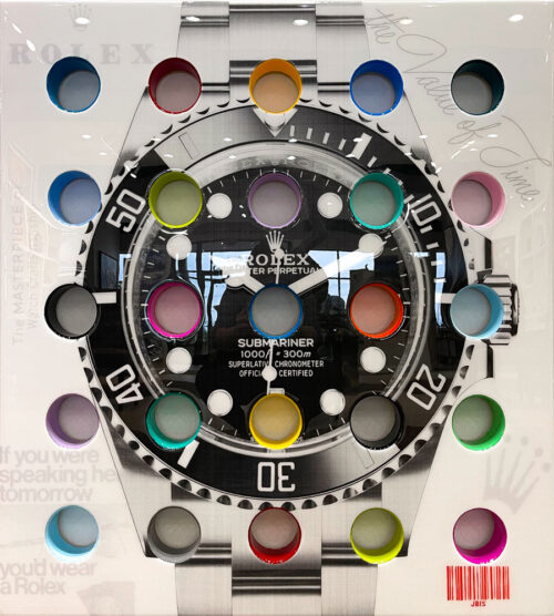 Rolex Submariner by The Bisaillon Brothers. This Pop Artwork is a mixed media piece of a the Rolex Submariner watch covered in resin, with brightly painted holes going through the canvas.