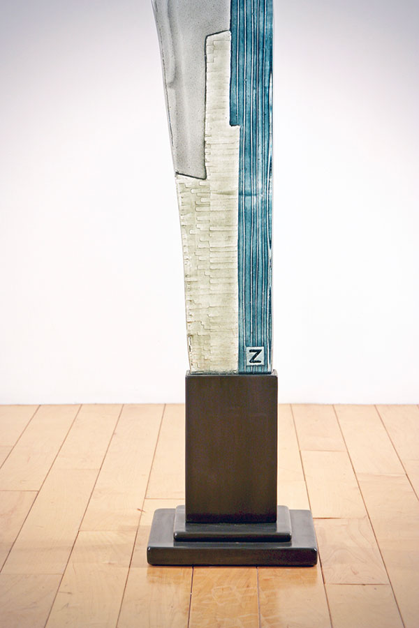 Blue, Clear, and Red Glass Sculpture