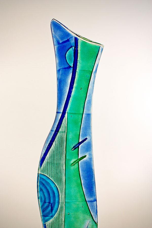 Blue and Green Glass Sculpture