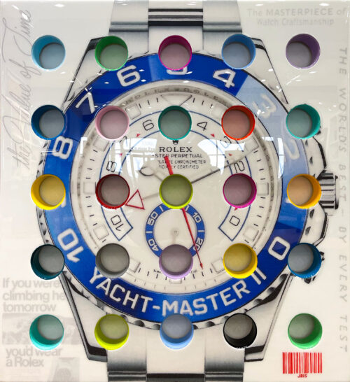 Rolex Yacht-Master II by The Bisaillon Brothers. This Pop Artwork is a mixed media piece of a the Rolex Submariner watch covered in resin, with brightly painted holes going through the canvas.
