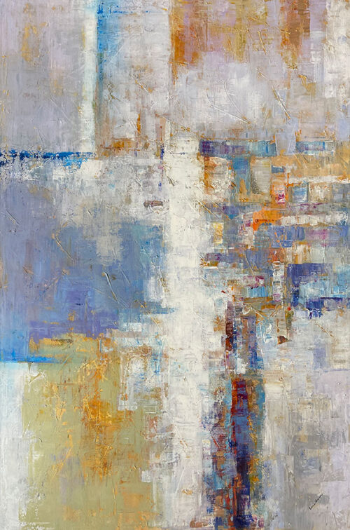 Abstract Painting with Soft Pastel Colors