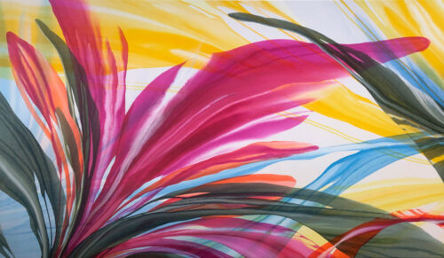 Birds of Paradise II by Antonio Molinari. Oversized poured acrylic painting on canvas. Bright colorful abstract flowers that cascade across the canvas.