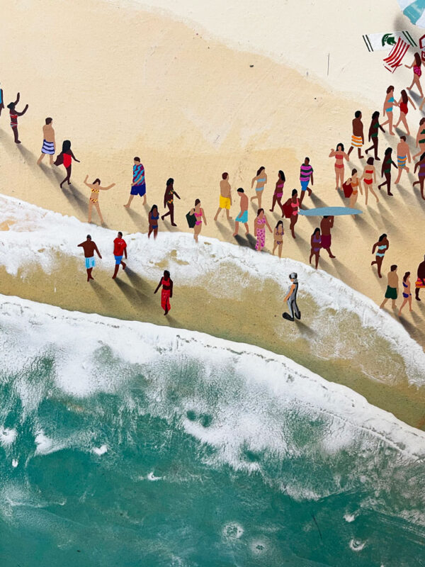 """Hot Feet is part of the Populus Series by Craig Alan. We all love the footprints that we make on beach during a hot summer day. From enjoying a tan, swimming in the water, and enjoying the community at the beach, """"Hot Feet"""" captures all of these great memories! Crowds of people on the beach creating foot prints in the sand."""