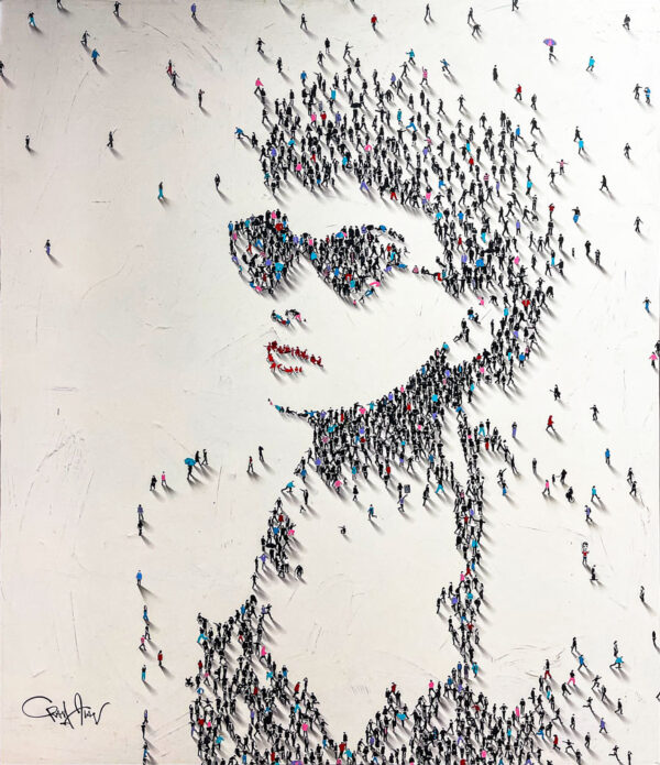 Cat Eyes - Audrey Hepburn by Craig Alan at Art Leaders Gallery. Craig Alan creates another stunning Populus portrait of the actress, Audrey Hepburn. He perfectly captures her iconic cat-eye sunglasses in his unique style. Look closely at the people creating the image, and you may find Miss Hepburn as Holly Golightly mingling among the crowd.