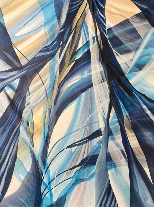 Coastal Lines by Antonio Molinari at Art Leaders Gallery. Blue, white, and gold abstract poured paint on canvas.