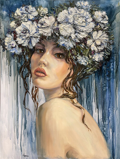 Innocence by Anastasiya Skryleva at Art Leaders Gallery. Brown-eyed girl with white carnation flower crown. Blue and green paint drip background. Portrait of girl with flower crown.
