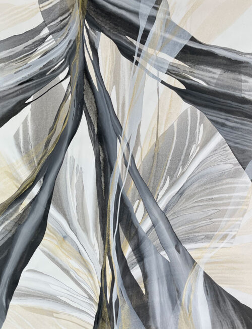 Midas by Antonio Molinari at Art Leaders Gallery. Molinari creates stunning, original piaintings by pouring acrylic paints onto canvas. With this, he is able to manipulate the canvas, and let gravity create beautiful layers and patterning. Black, gray, and gold abstract painting.