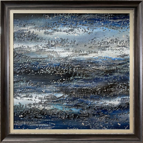 Persistence of Beauty bu Lun Tse. Abstract mixed media of varying shades of blue with silver. Framed in a blue and champagne frame.