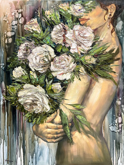 Pure Embrace by Anastasiya Skryleva at Art Leaders Gallery. Brunette girl with jeweled earing holding white roses.