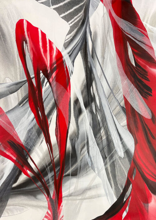 Red Fury II by Antonio Molinari at Art Leaders Gallery. Red, black and white abstract poured paint on canvas. Bright red feathers stretche across a tangle of smoky grey and black.
