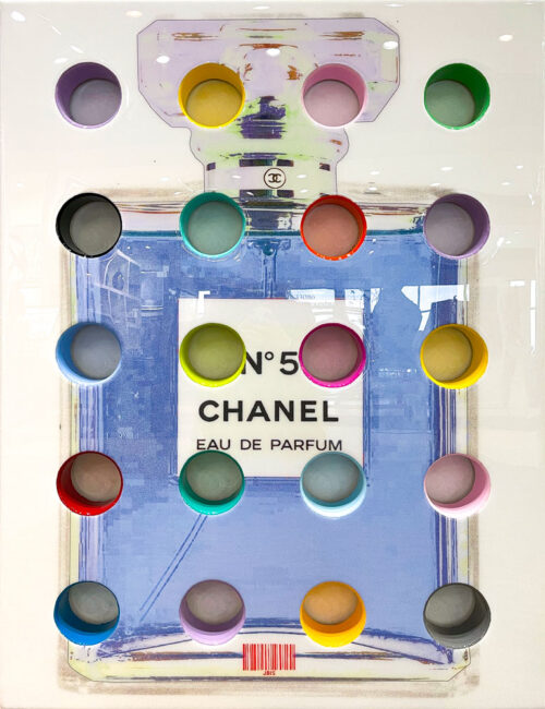 Blue Chanel Perfume by The Bisaillon Brothers. This Pop Artwork is a mixed media piece of blue Chanel No 5 eau de parfum.