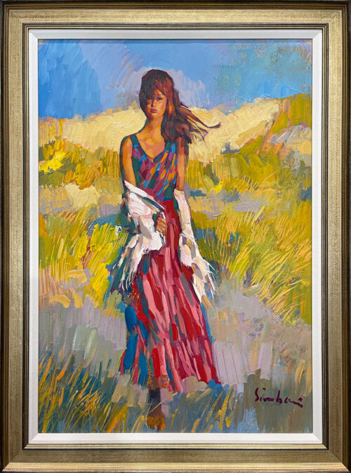 Windswept by Nicola Simbari is an original painting on canvas by the italian artist. Double framed with gold and linen. Woman in a pink dress with white shawl walking through tall grass.